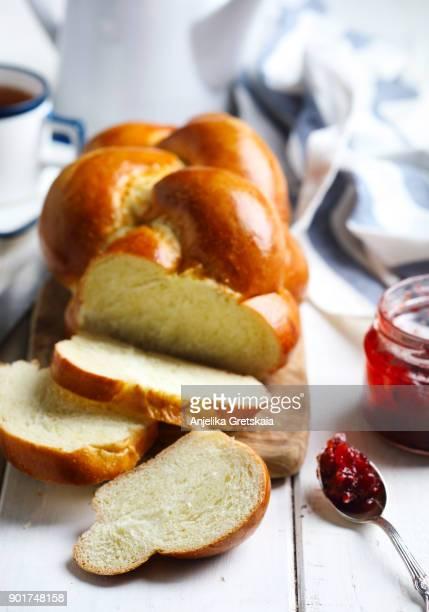 Freshly baked sweet braided bread loaf for breakfast.