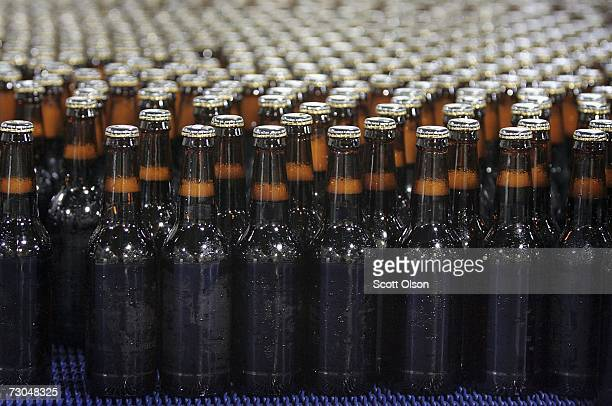Freshly bottled beer rolls down a conveyor to be labeled and packaged at the Goose Island Brewery on January 19 2007 in Chicago Illinois Goose Island...