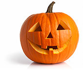 Freshly Carved Jack-o-Lantern Pumpkin Isolated on White