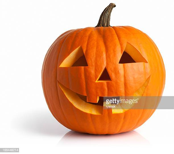 freshly carved jack-o-lantern pumpkin isolated on white - happy halloween stock photos and pictures