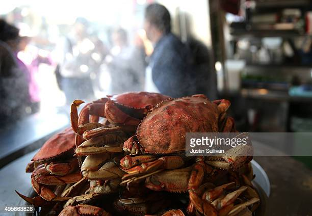 Freshly cooked Dungeness crab sits on a pot of boiling water at Nick's Lighthouse Restaurant on November 5 2015 in San Francisco California The...