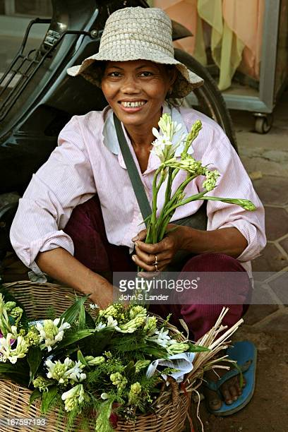 Freshly cut flowers at the Morning Market in Siem Reap these markets are scattered throughout residential neighborhoods in Cambodian as well as other...
