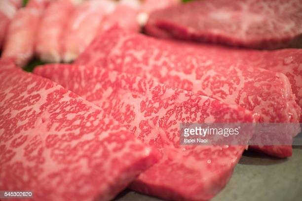 Freshly cut slices of Wagyu Kobe beef thigh