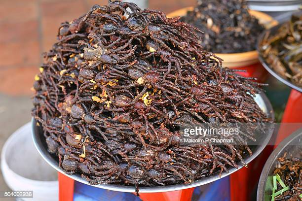 Freshly deep fried Tarantulas, Skuon, Cambodia