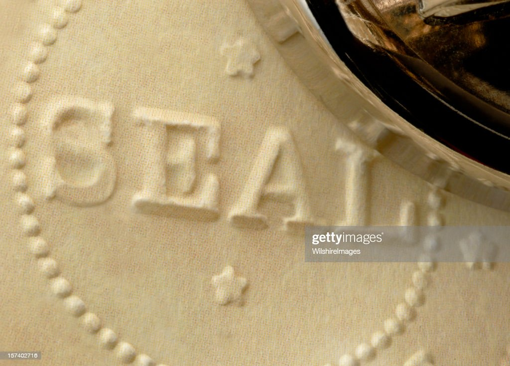 Freshly Embossed Official Corporate, Approval, Accreditation, or Notary Raised Seal : Stock Photo