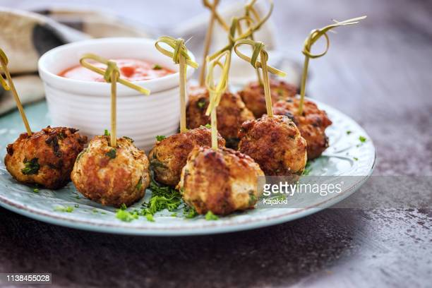 freshly fried meatballs - appetizer stock pictures, royalty-free photos & images