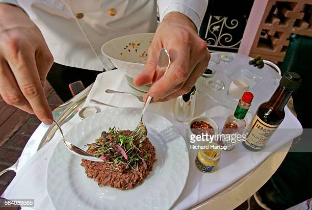 Freshly Ground Tenderloin 'Steak Tartare' prepared tableside at the Polo Lounge at the Beverly Hills Hotel in Beverly Hills Friday June 29 2007