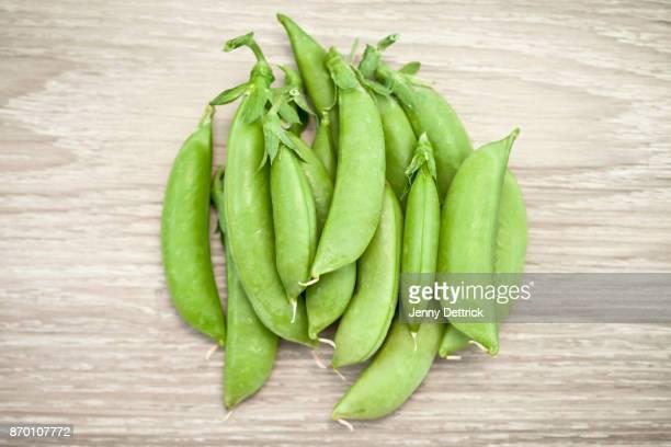 Freshly harvested sugar snap peas