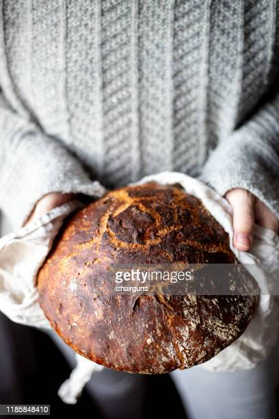 freshly home made baked sourdough bread - artisanal food and drink stock pictures, royalty-free photos & images