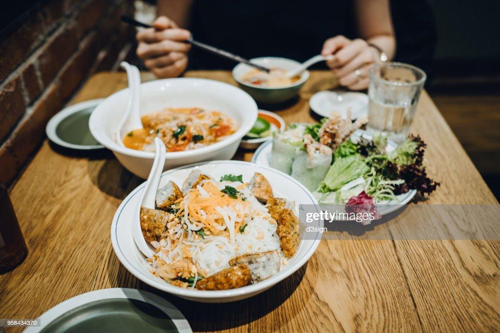 Freshly made Thai gourmet served on table in restaurant : Stock Photo