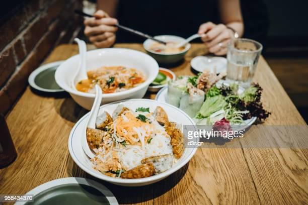 Freshly made Thai gourmet served on table in restaurant