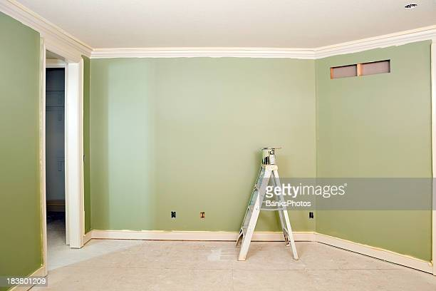 Freshly Painted Green Bedroom Wall