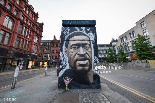 Freshly painted mural of the late George Floyd, has been created by the artist AKSE in Stevenson square, Manchester. A mural of the late George...