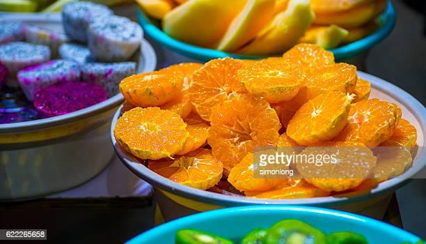 freshly peeled oranges - 果肉 ストックフォトと画像