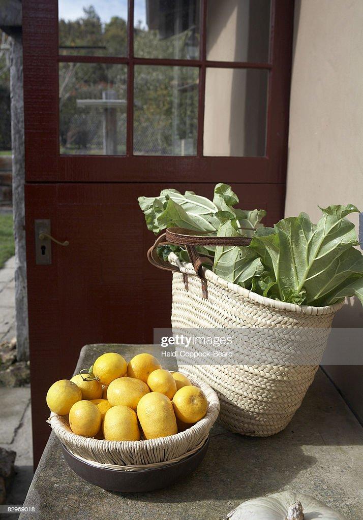 Freshly picked Grapefruits and rhubarb : Stock Photo
