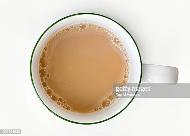 Freshly poured cup of tea from above