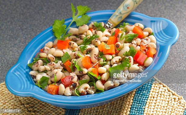 freshly prepared black-eyed pea salad - black eyed peas food stock pictures, royalty-free photos & images
