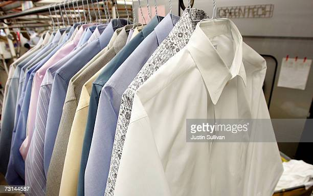Freshly pressed shirts are seen at Sohn's French Cleaners which uses ecofriendly chemicals to dry clean clothes January 29 2007 in San Francisco...