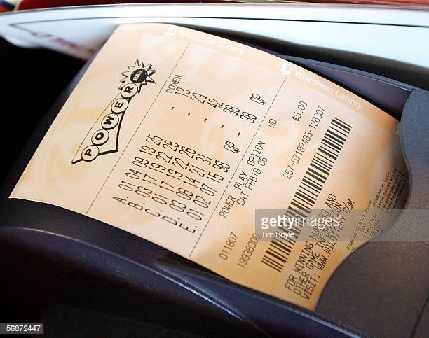 A freshly printed Powerball ticket is seen at a Citgo gas station February 17 2006 near the Illinois border in Pleasant Prairie Wisconsin The...