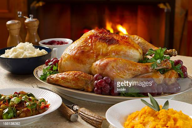 freshly roasted turkey dinner with vegetables in bowls - cranberry sauce stock photos and pictures