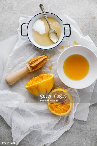 Freshly squeezed orange juice and sugar