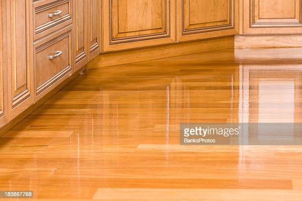 Freshly Stained Kitchen Hardwood Floor