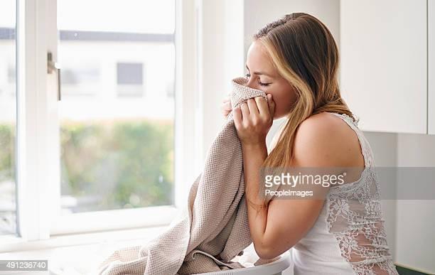 Recém-washed toalhas de