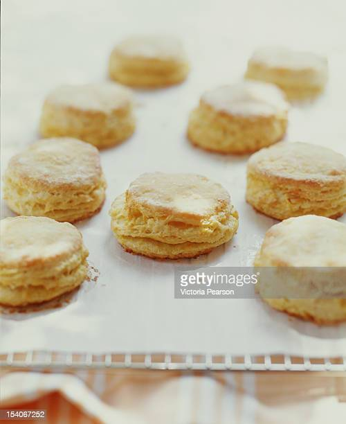 freshly-baked biscuits. - biscuit stock photos and pictures