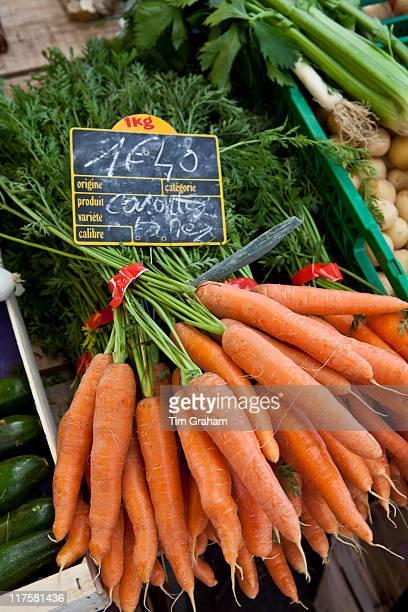 Freshlypicked carrots on sale at food market at La Reole in Bordeaux region of France