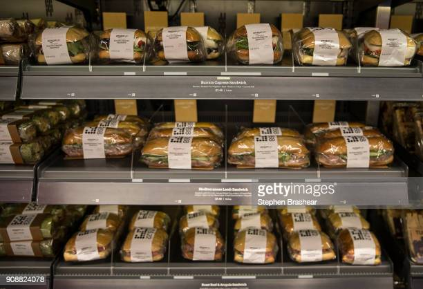 Freshmade daily sandwiches are on display at the Amazon Go on January 22 2018 in Seattle Washington After more than a year in beta Amazon opened the...