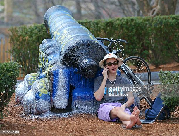 Freshman Ballard Blair class of 2018 lays claim to the cannon at Tufts University campus for his ATO of Massachusetts fraternity April 22 2015 Its a...