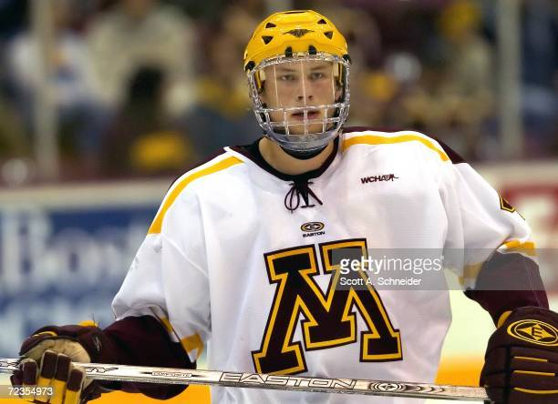 Freshman Erik Johnson of the University of Minnesota Gophers looks on against the Colorado College Tigers on October 27 2006 at Mariucci Arena in...