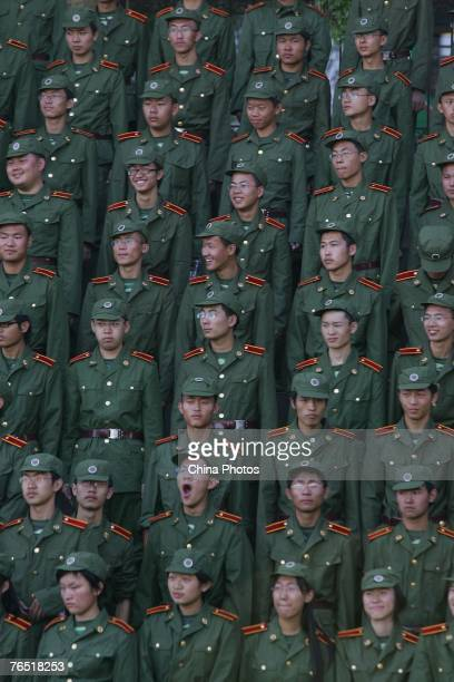 Freshman from the Jilin University attend a military training on September 5 2007 in Changchun of Jilin Province China China implements a military...