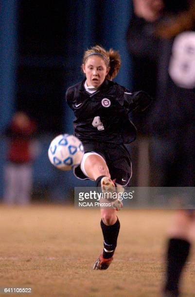 Freshman Kristen Lake of Franklin Pierce College passes the ball to a teammate during the 2003 Division 2 Women's Soccer Championship held at the...