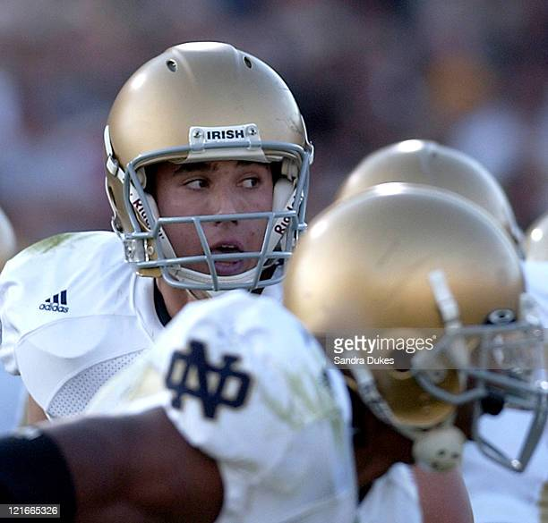 Freshman quarterback Brady Quinn in his first game as the starter looks for help in the 4th quarter of Notre Dame's 23-10 loss to Purdue.