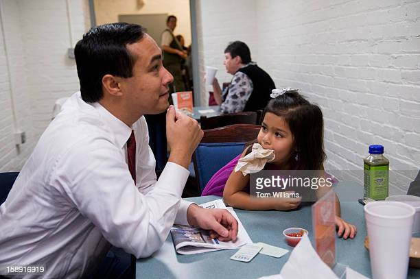 Freshman Rep Joaquin Castro DTexas hangs out in the cafeteria of Cannon Building with his niece Carina 3 1/2 daughter of his brother Julian Castro...