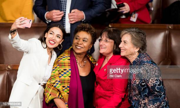 Freshman Reps from left Alexandria OcasioCortez DNY Barbara Lee DTexas Annie Kuster DNH and Jan Schakowsky DIll take a selfie on the House floor...