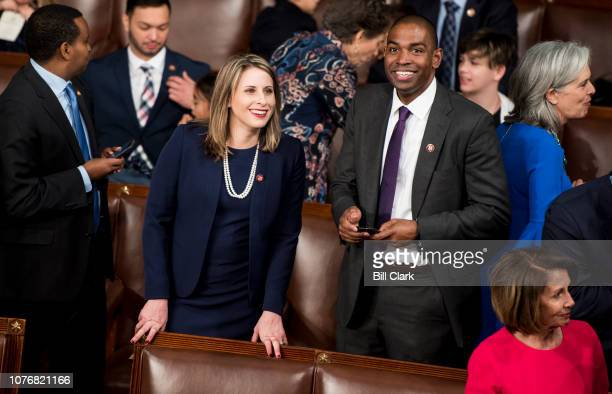 Freshman Reps from left Katie Hill DCalif and Antonio Delgado DNY talk on the House floor before the start of the election of the Speaker of the...