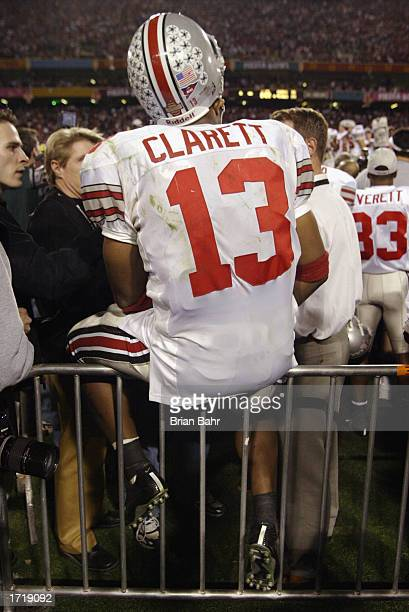 Freshman running back Maurice Clarett of the Ohio State Buckeyes takes in the BCS Championship victory over the University of Miami Hurricanes in the...