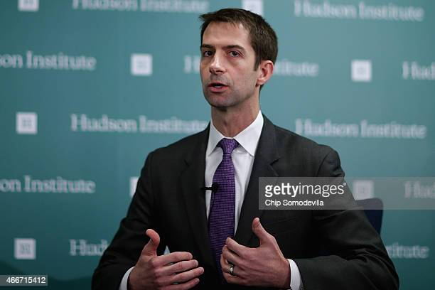 Freshman U.S. Sen. Tom Cotton participates in a conversation about American foreign strategy and statesmanship at the Hudson Institute March 18, 2015...