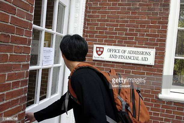 Freshman Winston Yan enters the Admissions Building at Harvard University September 12 2006 in Cambridge Massachusetts Harvard is eliminating early...