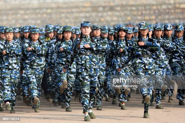Freshmen at a university demonstrate their skills after weeks of compulsory martial training on October 20 2017 in Huaibei China Feature China /...