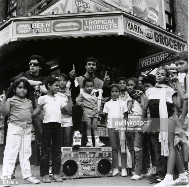 Freshmen poses with his fans outside a Lower East Side deli 1988 New York The photo was shot for Face magazine