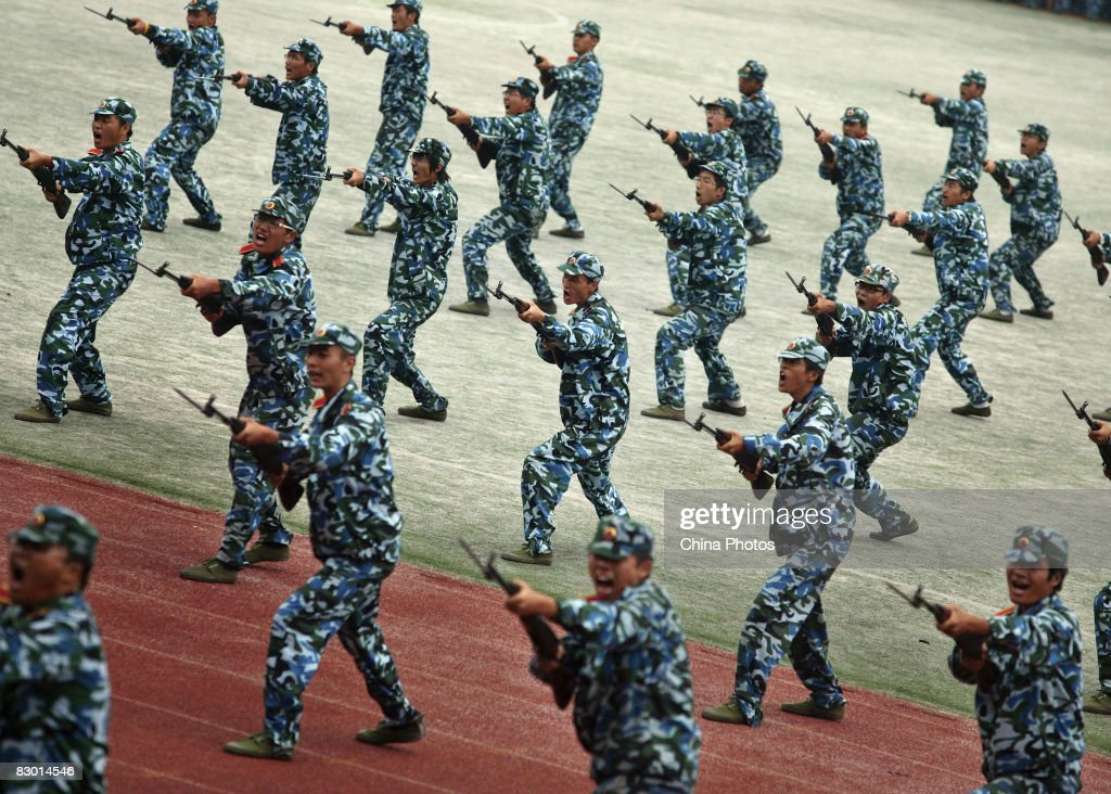 Chinese Freshmen Undergo Military Training : News Photo