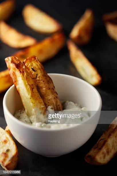 freshness roasted potato wedges - mayonnaise stock pictures, royalty-free photos & images