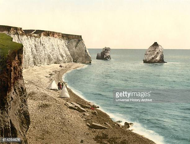 Freshwater Bay Arch and Stag Rocks, Isle of Wight, England, Photochrome Print, circa 1900.