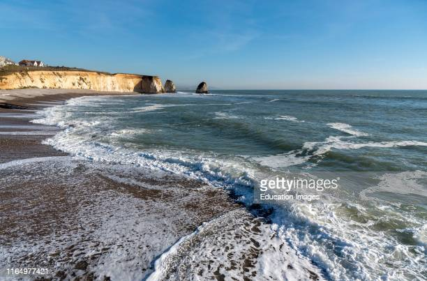 Freshwater Bay, Isle of Wight, England, UK, Incoming tide on a winters afternoon on the Isle of Wight.