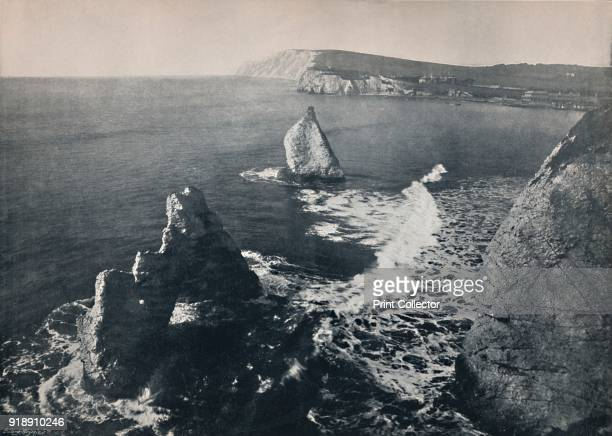 'Freshwater Bay - Showing The Arched Rock.', 1895. From Round the Coast. [George Newnes Limited, London, 1895]Artist Unknown.