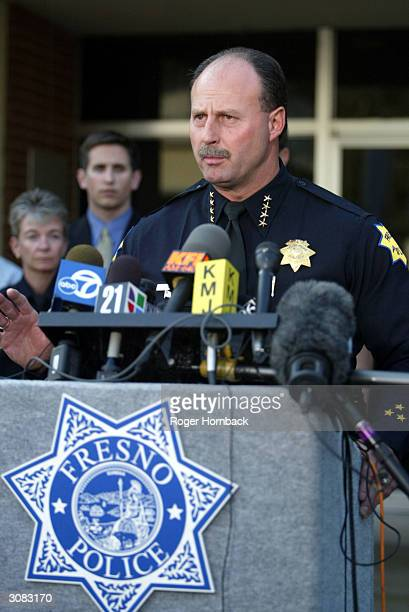 Fresno City Police Chief Jerry Dyer holds a press conference concerning the arrest of 57yearold Marcus Wesson March 13 2004 in Fresno California...