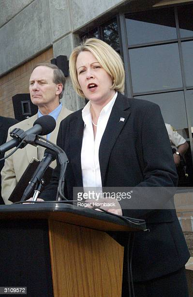 Fresno County District Attorney Elizabeth Eagan speaks to the media at a news conference March 18 2004 in Fresno California Wesson's arraignment on...